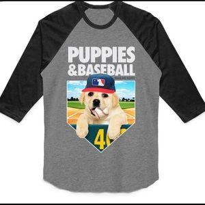 NWT Puppies & Baseball Raglan 3/4 sleeve tee